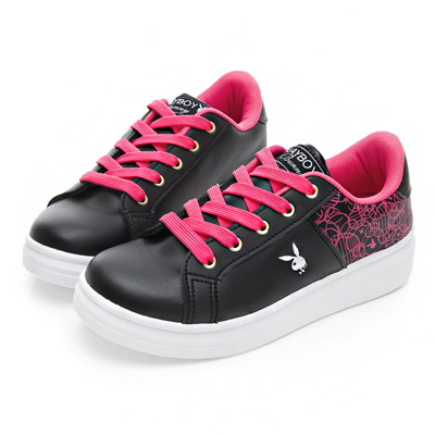 PLAYBOY 幾何圖案仿皮綁帶休閒鞋-黑桃-Y5215C8