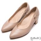 DIANA 甜漾迷人—3WAY真皮繫帶瑪麗珍粗跟鞋-裸粉