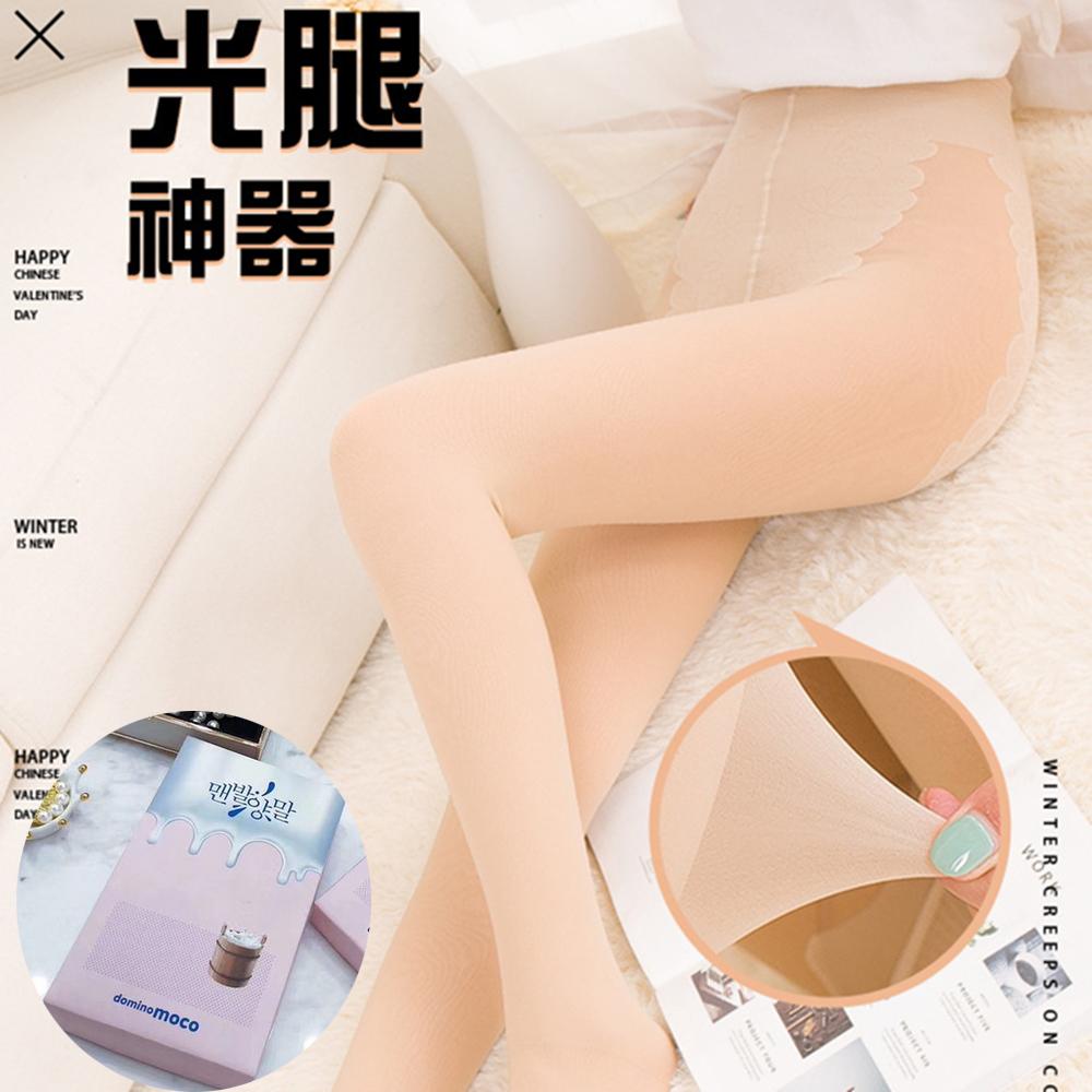 梨花HaNA 冬季新款韓國Dominomoco牛奶嬰兒絨光腿神器褲襪