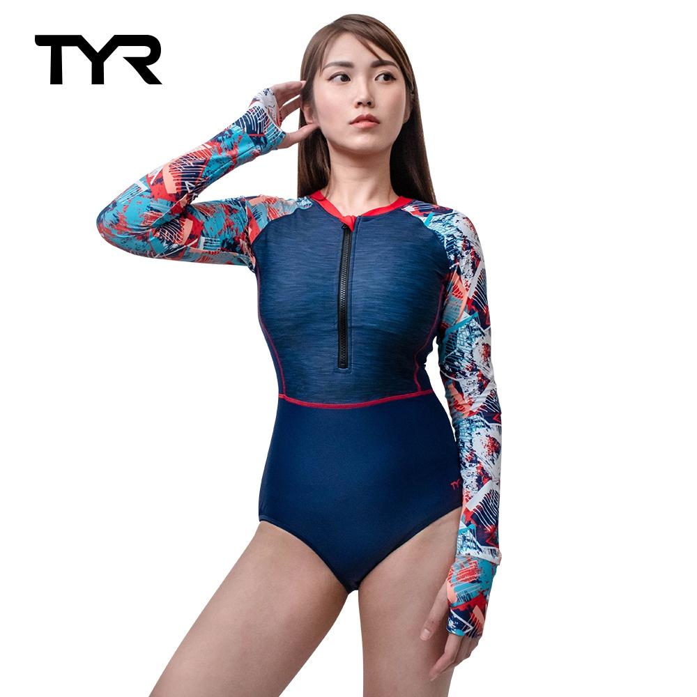 美國TYR Fiesta Long Sleeve One Piece Zip Suit 女款修身剪裁抗UV長袖防曬水母衣