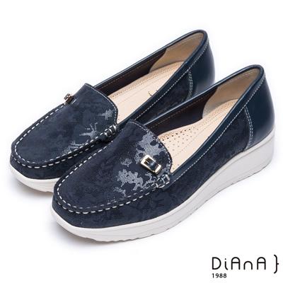 DIANA 漫步雲端超厚切焦糖美人款--經典方釦真皮厚底休閒鞋-深藍