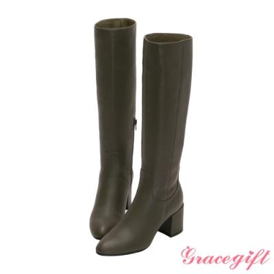 Grace gift X Jessica-聯名全真皮膝下高跟長靴 軍綠
