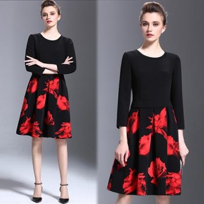 【KEITH-WILL】歐美畫作拼接印花洋裝