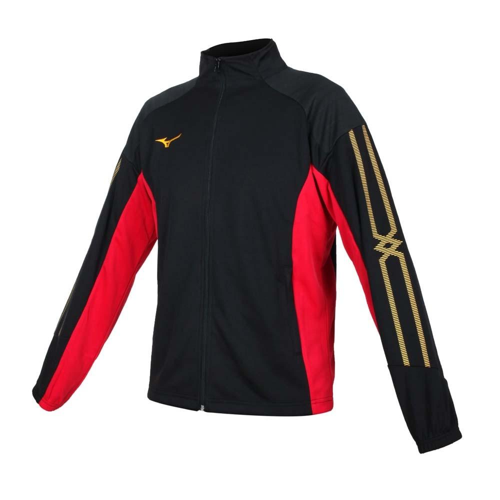 MIZUNO 男針織外套-立領外套 吸濕排汗 抗UV 慢跑 運動 美津濃 32TC153309 黑黃