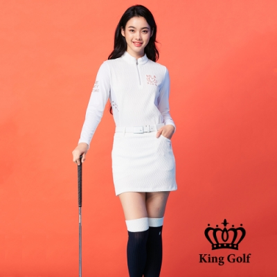 【KING GOLF】立體壓紋印花刺繡立領拉鍊長袖POLO衫-白色