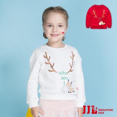JJLKIDS 聖誕白鬍子麋鹿內刷毛棉質上衣(2色)