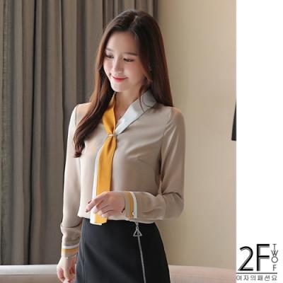 2F韓衣-韓系配色領帶造型上衣-2色(S-2XL)