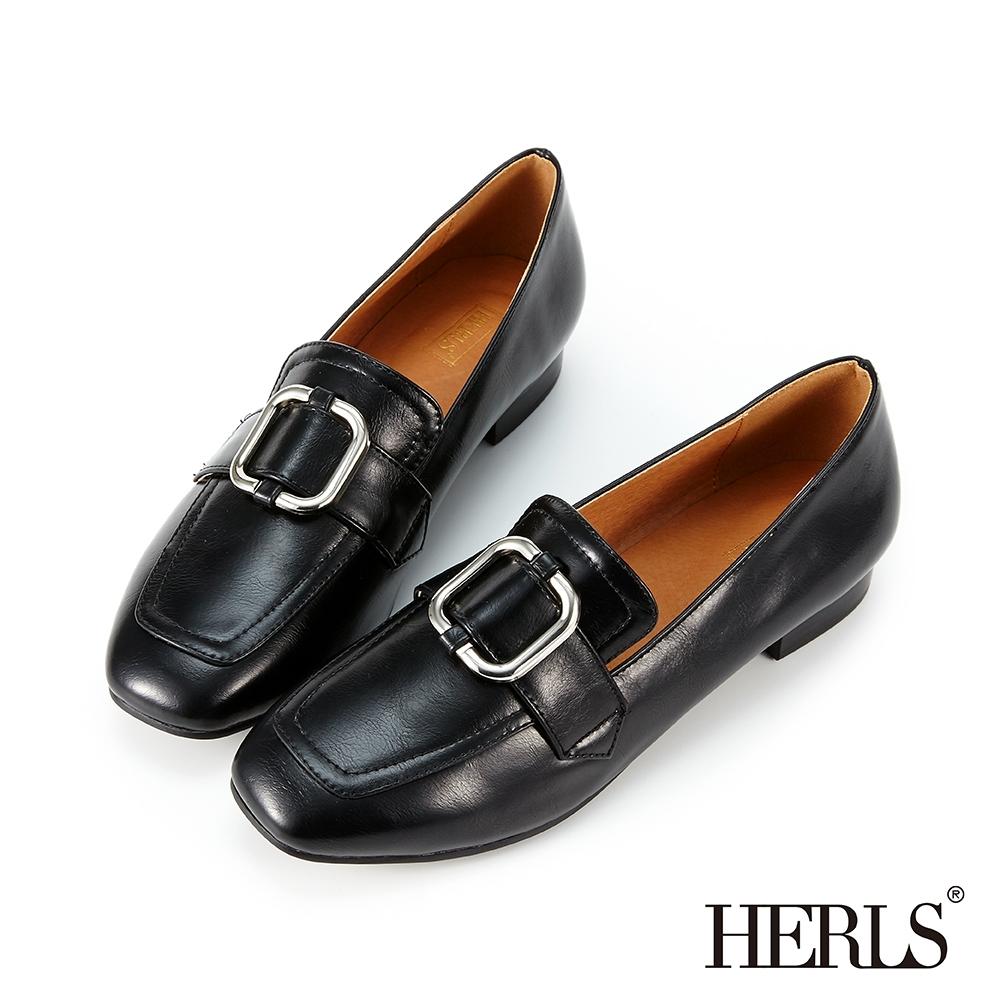 HERLS樂福鞋-兩穿金屬方釦光澤感小方頭樂福鞋-黑色