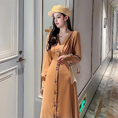 DABI 韓系時尚V領氣質單排釦長版收腰長袖洋裝