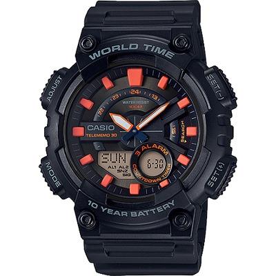 CASIO 10年電力指針數位雙顯錶款-黑X橘(AEQ-110W-1A2)/46mm