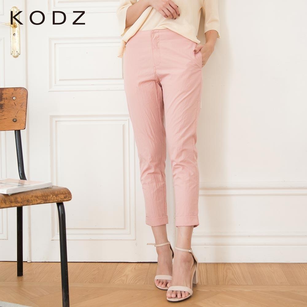 東京著衣-KODZ 俐落知性素面皺褶感紋理直筒褲-S.M.L