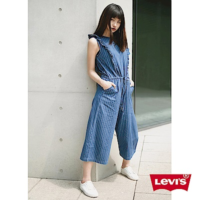 Levis 女款 連身褲 無袖寬管褲 線條荷葉袖