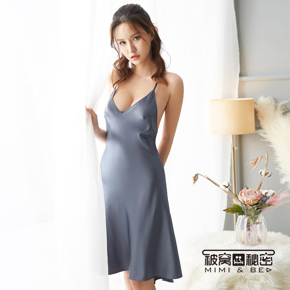 性感睡衣 優雅簡約交叉露背吊帶長裙。灰色 被窩的秘密
