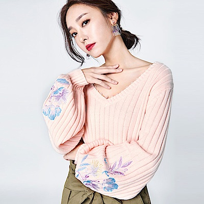 SUITANGTANG 玉葉繡線鉤織上衣-粉紅