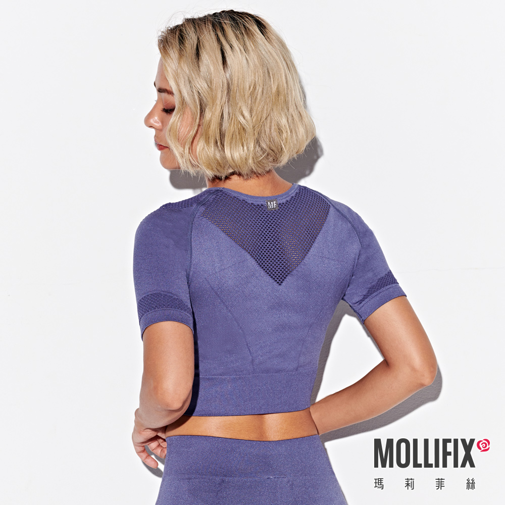 Mollifix 瑪莉菲絲 A++網眼針織短版上衣 (藏青)