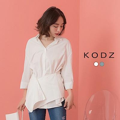 東京著衣-KODZ  知性女人腰間交錯可調式排釦設計襯衫-S.M.L(共兩色)