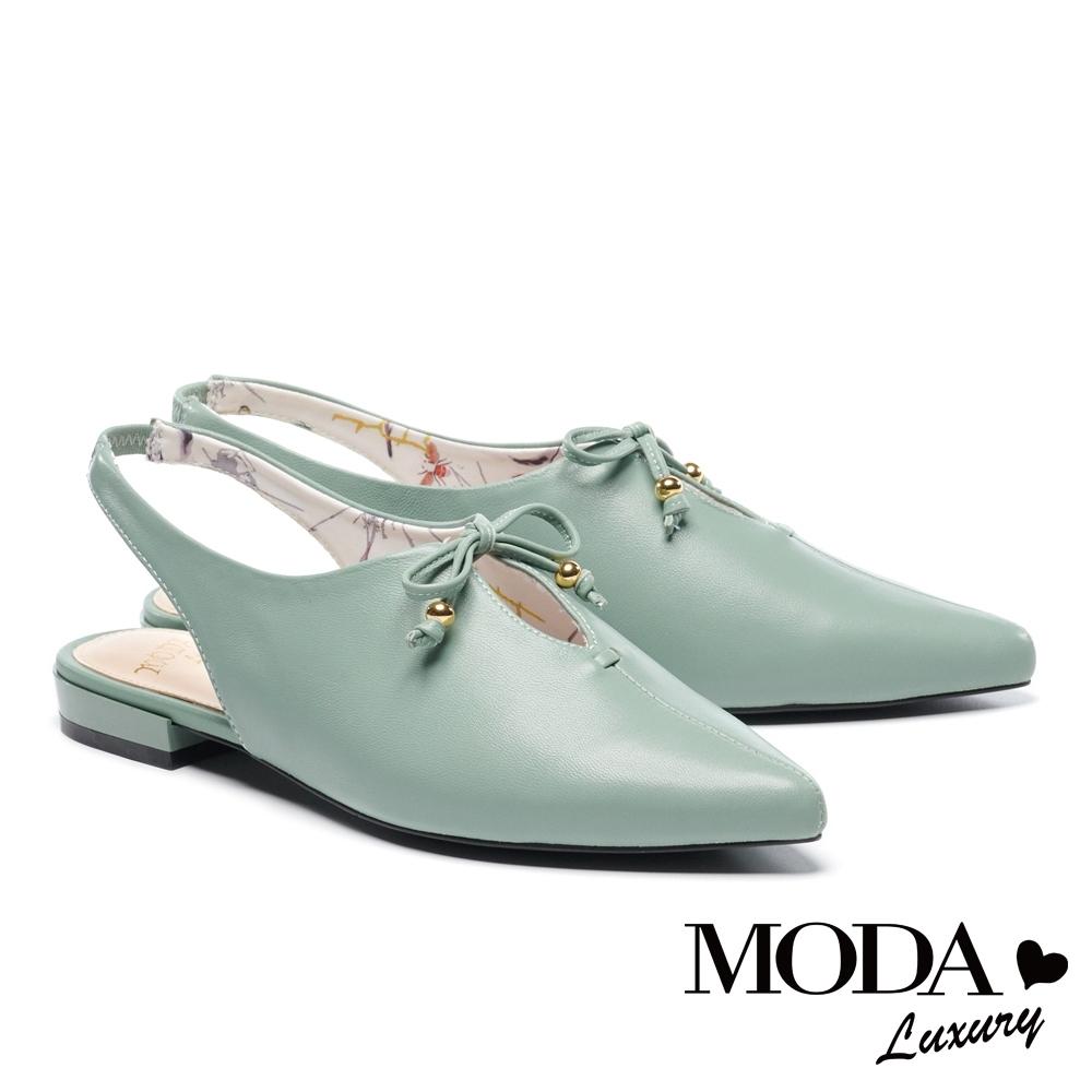 涼鞋 MODA Luxury 小清新簍空蝴蝶結設計羊皮尖頭低跟涼鞋鞋-綠