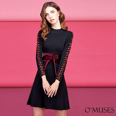 編織綁帶袖針織洋裝-OMUSES