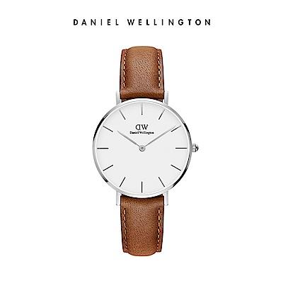 DW 手錶 官方旗艦店 32mm銀框 Classic Petite 淺棕真皮皮革