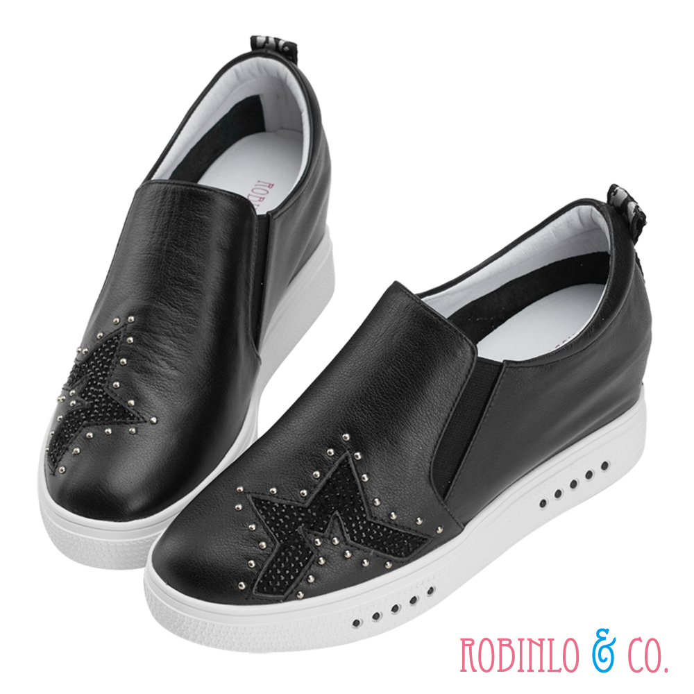 Robinlo & Co.星空主題牛皮微內增高休閒鞋 黑