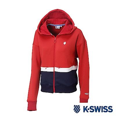 K-SWISS Hooded Sweat Zip up女休閒連帽外套-女-紅