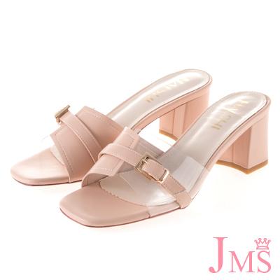 JMS-皮質拼接透明帶搭釦中跟涼拖鞋-粉色