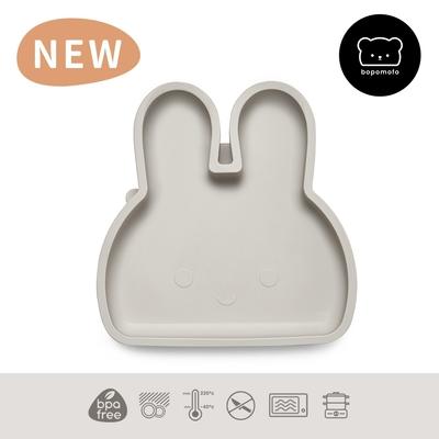 新加坡bopomofo 兔兔矽膠吸盤餐具-灰色