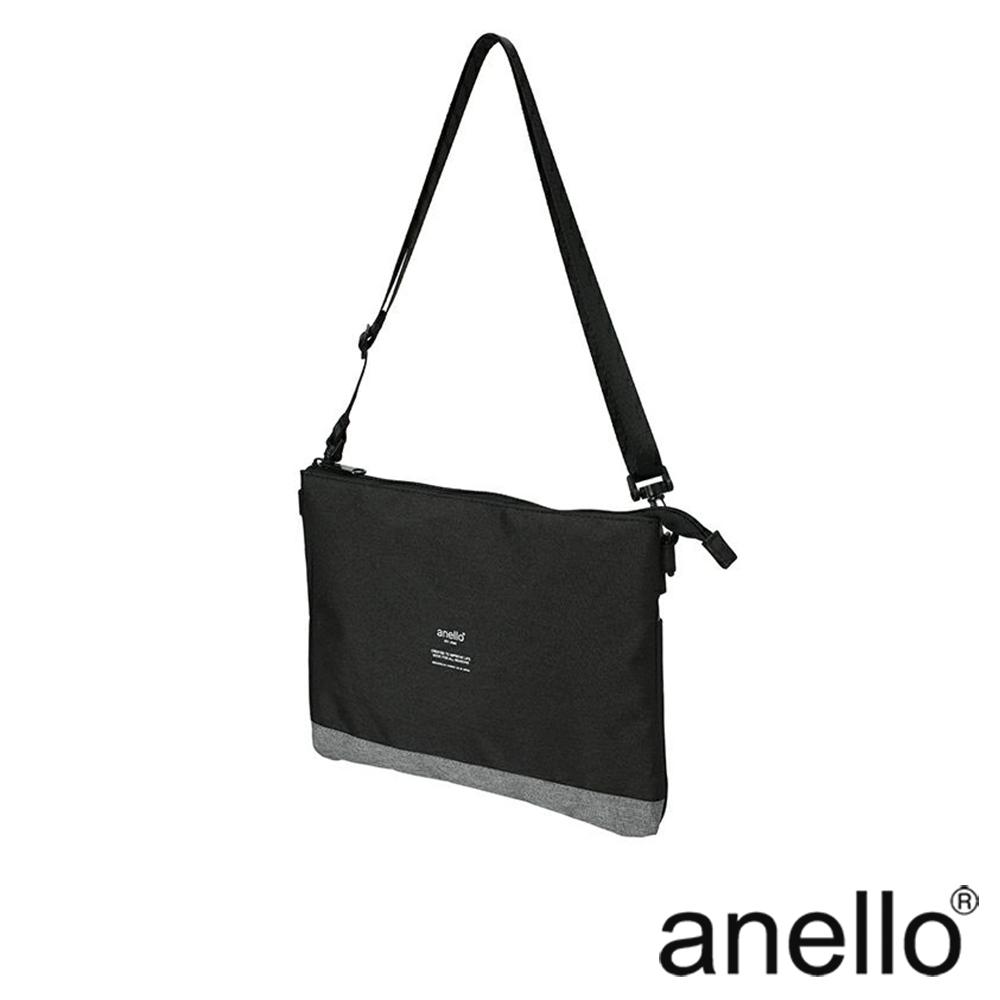 anello 高雅混色紋理機能型輕便兩用包 黑色x灰色