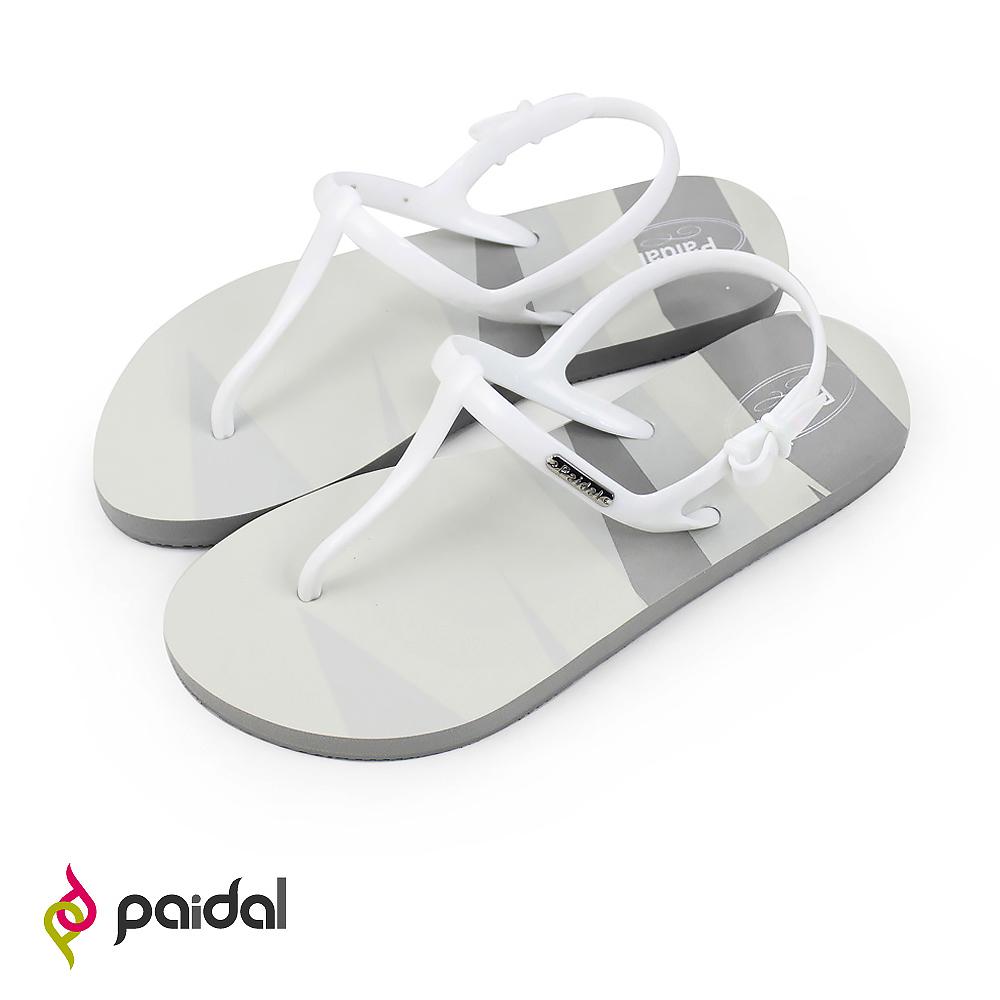 Paidal 鏡花同色彩紋T字涼鞋海灘涼鞋-灰