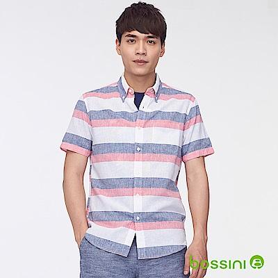 bossini男裝-棉麻條紋短袖襯衫03灰白