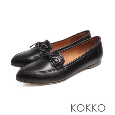KOKKO - 隨風飄盪蝴蝶結真皮尖頭平底鞋-典雅黑