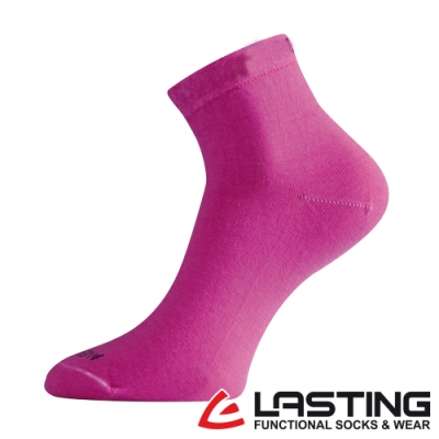 【LASTING捷克】女款美麗諾羊毛抗菌除臭吸濕排汗短襪/薄襪LT-WAS桃紅