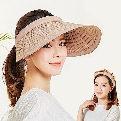 幸福揚邑 防曬抗UV髮圈大帽檐顯瘦可折疊空頂遮陽帽-卡