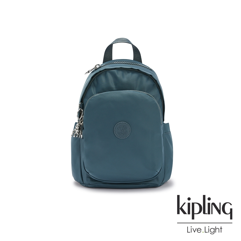 Kipling 山林湖茵綠拉鍊式小巧收納後背包-DELIA MINI