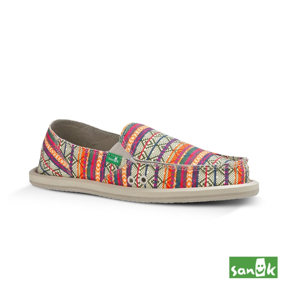SANUK 女款 US5 部落民俗圖騰懶人鞋(橘色)