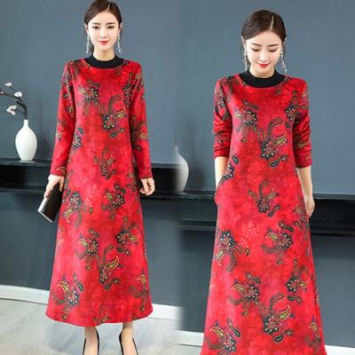 【韓國K.W.】時尚元素線印花長版洋裝