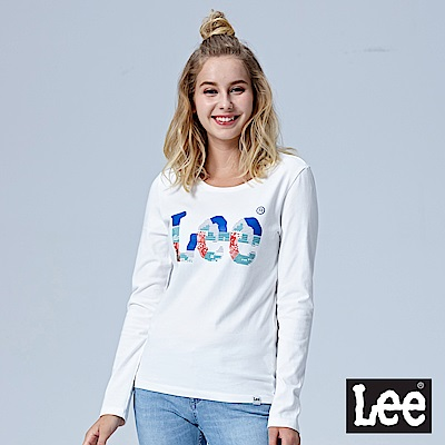 Lee 鑲珠LOGO長袖圓領TEE-白色