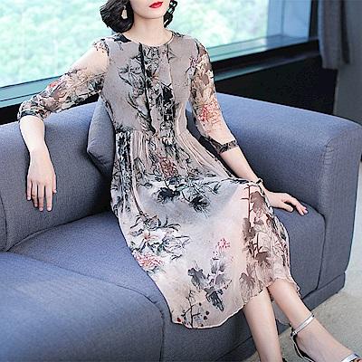 古典品味氣質印花高腰中袖洋裝S~XL-REKO