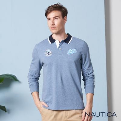Nautica撞色領學院風長袖POLO衫-水藍