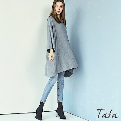 寬鬆圓領長版針織上衣 TATA