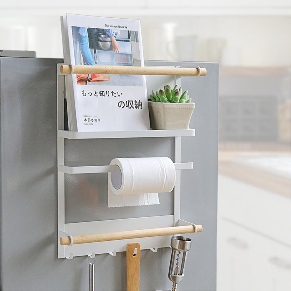 【KM生活】日式簡約免打孔磁吸式冰箱掛架/廚房置物架