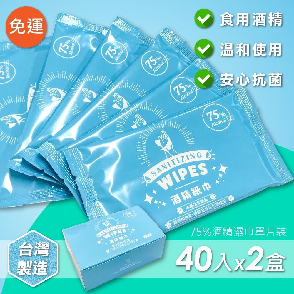 家購網嚴選 75%酒精濕巾 隨身抗菌單片裝 40入x2盒