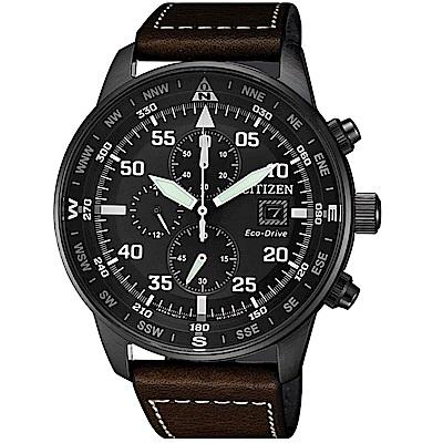 星辰 CITIZEN 飛行風格光動能計時腕錶(CA0695-17E)-咖啡皮