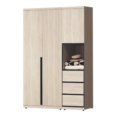 綠活居 法列德 現代4.2尺多功能開門衣櫃/收納櫃組合(吊衣桿+三抽屜+內開放式層格)-125x57x202cm免組