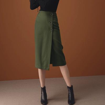 AIR SPACE LADY 氣質大圓釦高腰一片式直筒裙(綠)