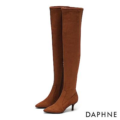 達芙妮DAPHNE 膝上靴-質感絨面性感尖頭過膝細跟靴-棕