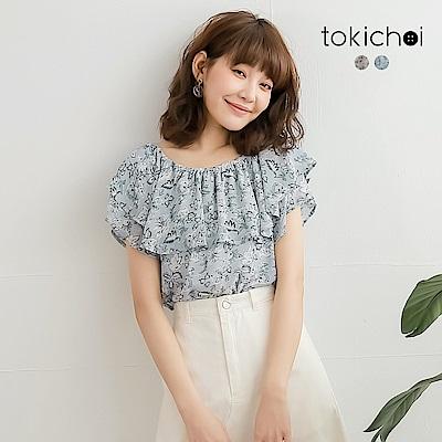 東京著衣 甜美浪漫滿版印花荷葉領上衣-S.M(共兩色)