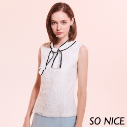SO NICE都會感撞色領結蕾絲上衣