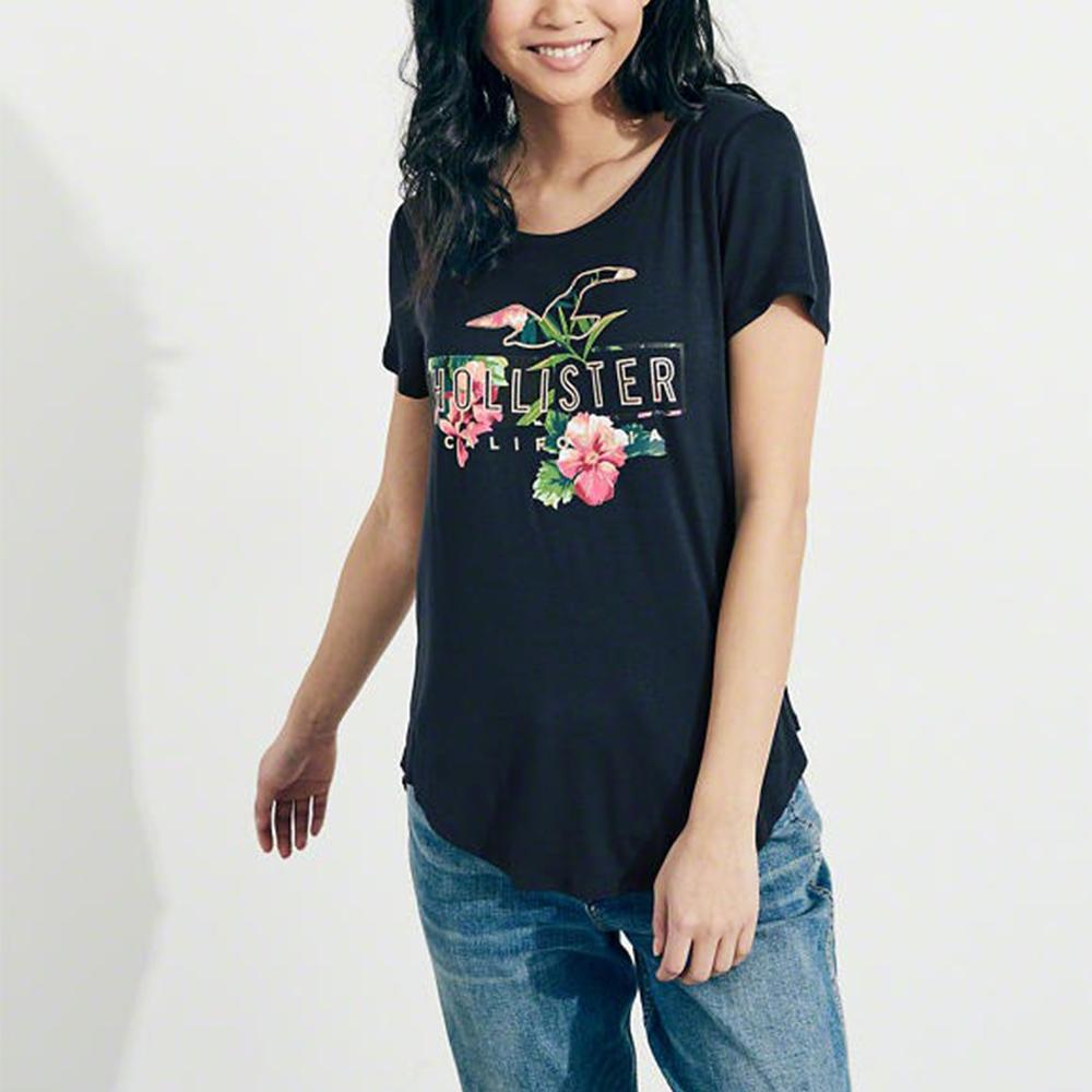 海鷗 Hollister 經典印刷文字圖案短袖T恤(女)-深藍色
