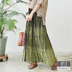 潘克拉 摺皺漸層綁染長裙-咖啡/綠/藍/紫
